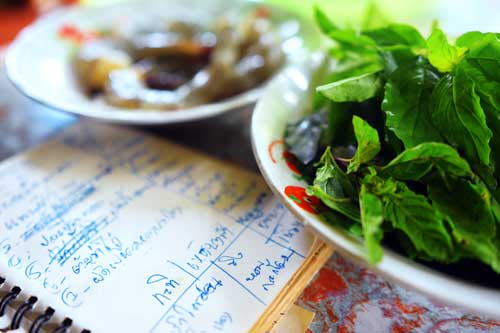 Shopping list and Thai ingredients