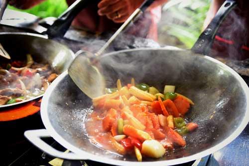 Stir frying Thai vegetables